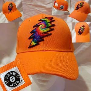 Grateful Dead hat, Orange Grateful Dead Bolt hat